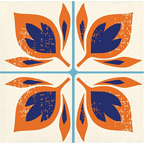 Drink Tile - Pack of 120 Orange and Blue Moroccan Tile Decorative Beverage Napkin 5