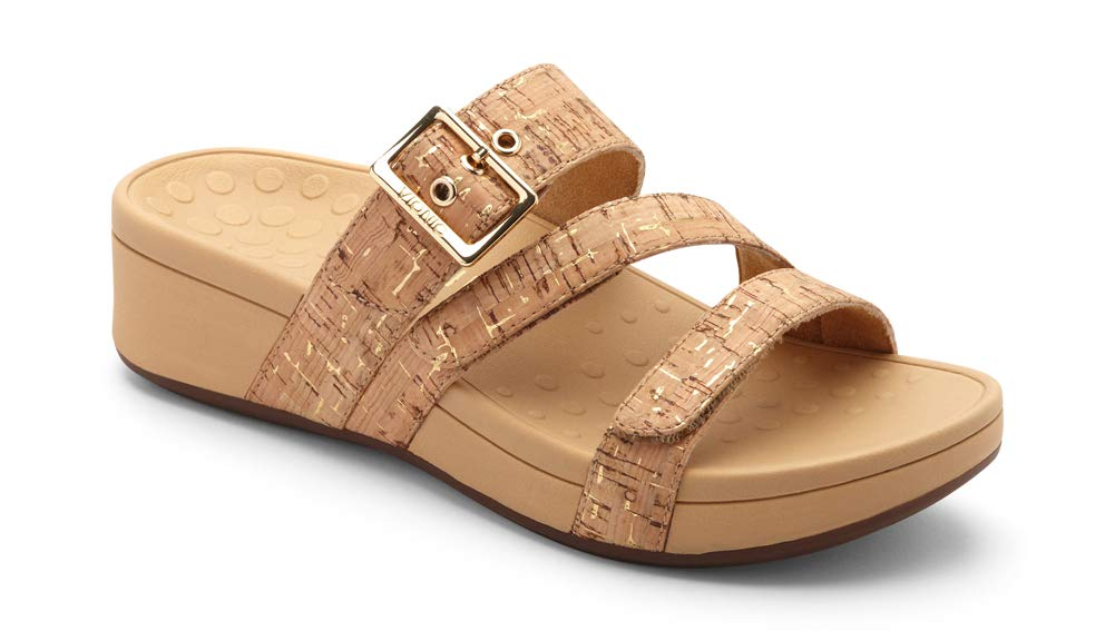 Vionic Women's Pacific Rio Platform Sandal - Ladies Adjustable Slide Sandal with Concealed Orthotic Arch Support Gold Cork 8 M US by Vionic