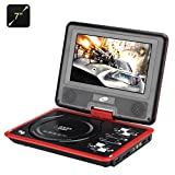 7 Inch Portable DVD Player with Game Function - Rotatable Screen, TFT Color Display, eBook, Game Controller (Red)