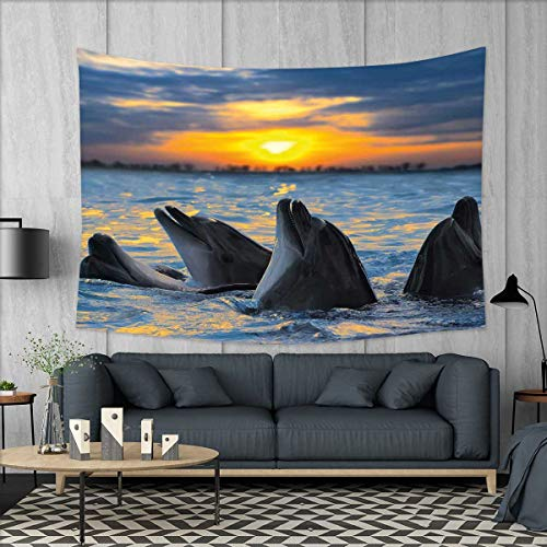 smallbeefly Animal Customed Widened Tapestry Photo of The Bottle Nosed Dolphins in Sunset Ocean Sea Animals Aquatic Print Wall Hanging Tapestry 90