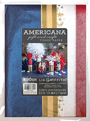 (Lia Griffith Americana Craft and Gift Tissue Paper Pack, 20-inches by 20-inches, 25 Sheets (0051116LG))