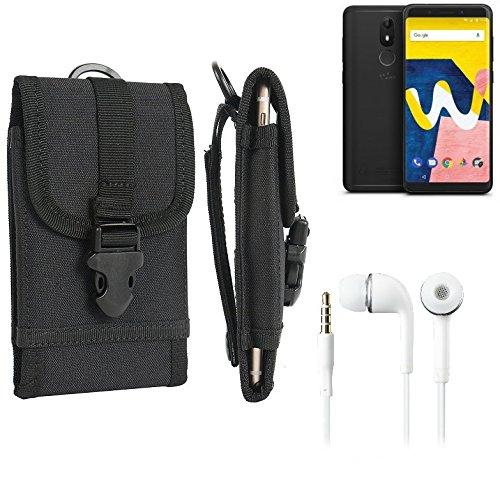 bolsa del cinturón / funda para Wiko View Lite, negro + Auriculares | caja del teléfono cubierta protectora bolso - K-S-Trade (TM)