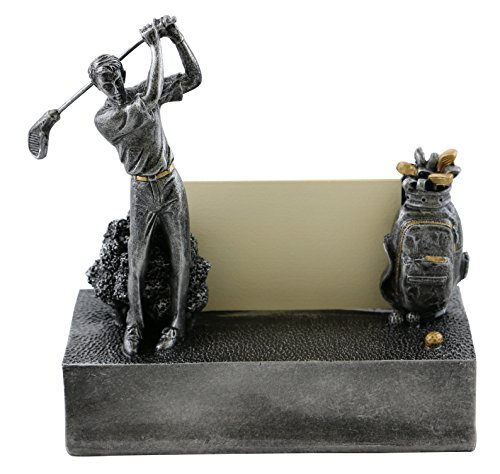 Golfer Business Card Holder Character Desk Display And Organizer, Golfer With Clubs In Motion ()