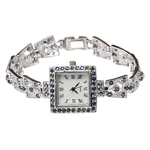 Natural Blue Sapphire Antique-like Vintage Square Watch 925 Silver from Caratera Fine Jewelry