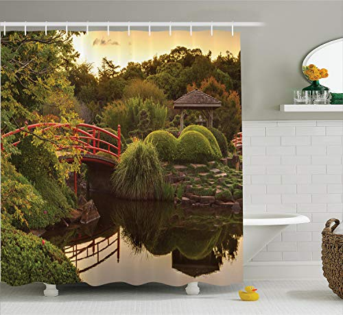 Ambesonne Japanese Decor Shower Curtain Set, Peaceful Garden in Twilight with Reflections in The Water Red Bridge On Pond Sunset Bathroom Accessories, 69W X 70L Inches, Green
