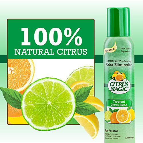 Citrus Magic Natural Odor Eliminating Air Freshener Spray, Tropical Citrus Blend, 3-Ounce, Pack of 3, 3