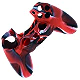PlayStation-4 Controller Case SlickBlue Camo Series - 2 Silicone Protection Case Skin for SONY PS4 DualShock Controllers with Grip - Red (2 Pack)