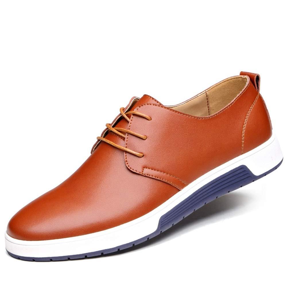 Qiusa  Fashion Herren Fashion  Casual Schuhe Plain Toe Schnürung Large Größe Bequeme Round Toe Derby (Farbe : Braun, Größe : EU 47) - 6ab32f