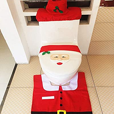 Set of 3 Happy Santa Toilet Seat Cover + Rug + Tank & Tissue Box Cover Xmas Gift for Bathroom Christmas Decoration Christmas Ornaments Happy Santa