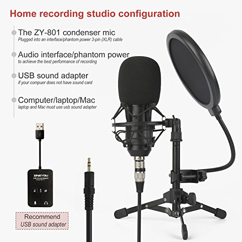 ZINGYOU ZY-801 Professional Studio Microphone, Desktop Computer Cardioid Condenser Mic with Tripod for PC Recording, Broadcasting (Black) by ZINGYOU (Image #4)