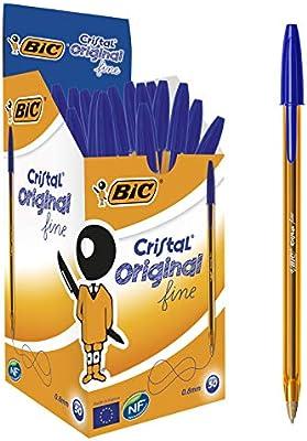 BIC Cristal Original Fine - Bolígrafos punta fina (0.8 mm), Caja de 50 unidades, Color Azul: Amazon.es: Oficina y papelería
