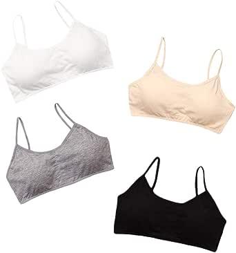 Hoxin Pack de 4 sujetadores de algodón para niñas jóvenes y adolescentes, transpirables, para entrenamiento de deportes de 8 a 16 años
