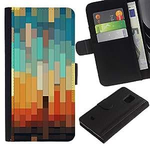 Paccase / Billetera de Cuero Caso del tirón Titular de la tarjeta Carcasa Funda para - 3D Teal Pastel Orange Brown - Samsung Galaxy S5 Mini, SM-G800, NOT S5 REGULAR!