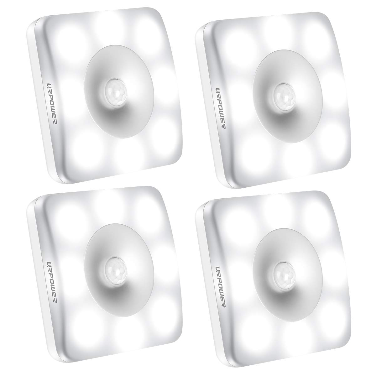 URPOWER Motion Sensor Light Closet Light Wireless Battery Operated Under Cabinet Lighting Stick-Anywhere Magnetic Motion Sensor Night Light Bathroom Wall Light for Closet Hallway Bookshelf(4 Pack)