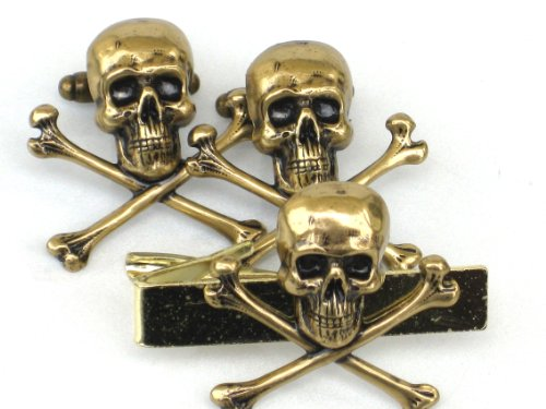 - Steampunk SKULL & CROSSBONES Gothic Men Tie Bar and cufflinks Clip Steam Punk