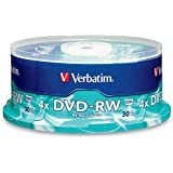 Verbatim DVD-RW 4.7GB 4X with Branded Surface - 30pk Spindle, BLUE/GRAY