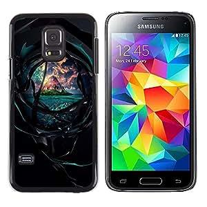 El túnel oscuro a la hermosa isla - Metal de aluminio y de plástico duro Caja del teléfono - Negro - Samsung Galaxy S5 Mini (Not S5), SM-G800