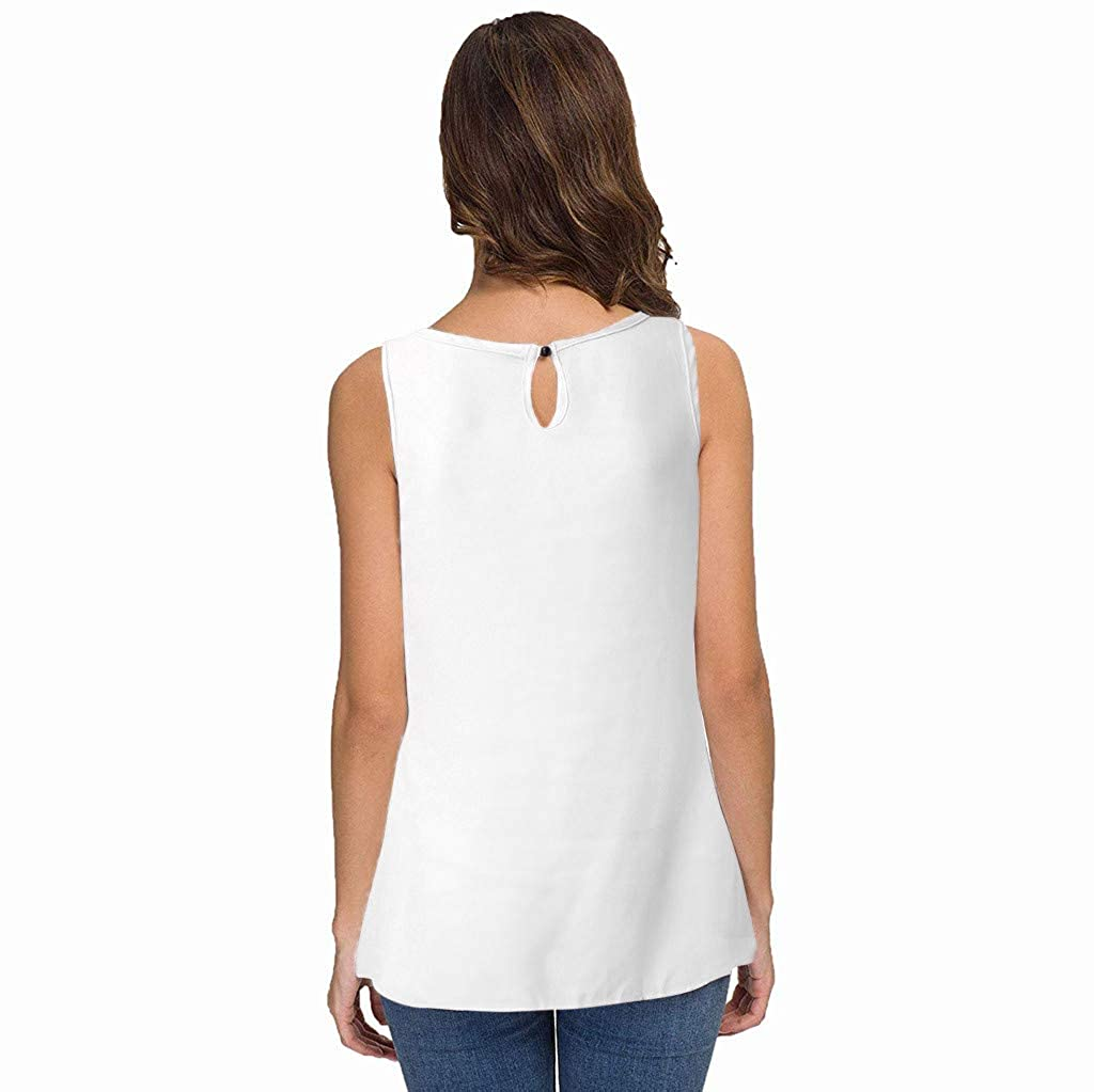 Womens Casual Chiffon Tank Tops Summer Sleeveless Lace Patchwork Pleated Closure Vest Blouse