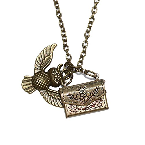 [Harry Potter Hogwarts Delivery Owl Acceptance Letter Pendant Necklace - Silver] (Dobby Harry Potter Costumes)