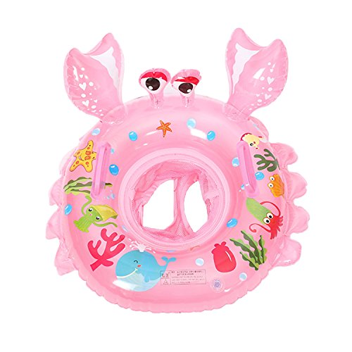 UClever Baby Inflatable Pool Float Infant Crab Seat Boat Swim Ring with Handles (Pink)