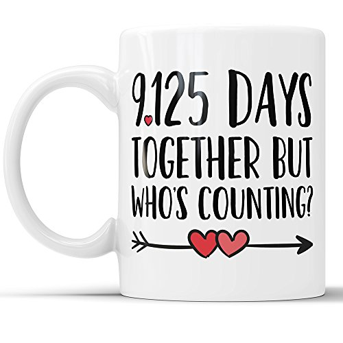 25th Anniversary Coffee Mug - 9125 Days Together But Who's Counting Funny Wedding Anniversary Gift, 25th year Anniversary Gifts, Jubilee Gift Cup (11 oz)