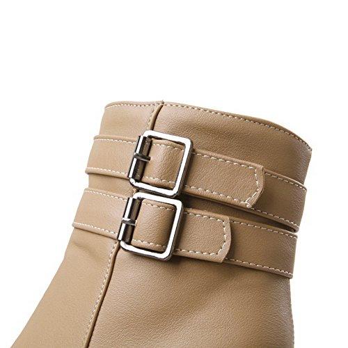 AllhqFashion Womens Solid High Heels Round Closed Toe Pu Zipper Boots with Metal Apricot vD3Jaj4Vh