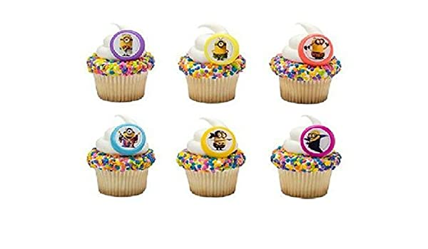 Amazon MINIONS Despicable Me Evolution Character 24 Party CUPCAKE Favors Toppers RINGS By DecoPac Beauty
