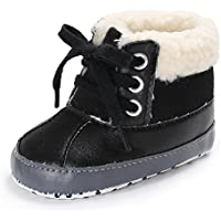 Meeshine Baby Boys Girls Plush Lace Up Snow Boots Newborn Infant Toddler Winter Warm Non-Slip Soft Sole Prewalker Crib Shoes