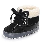 Meeshine Baby Boys Girls Plush Lace Up Snow Boots Newborn Infant Toddler Winter Warm Non-Slip Soft Sole Prewalker Crib Shoes(Medium(6-12 Months),Black)