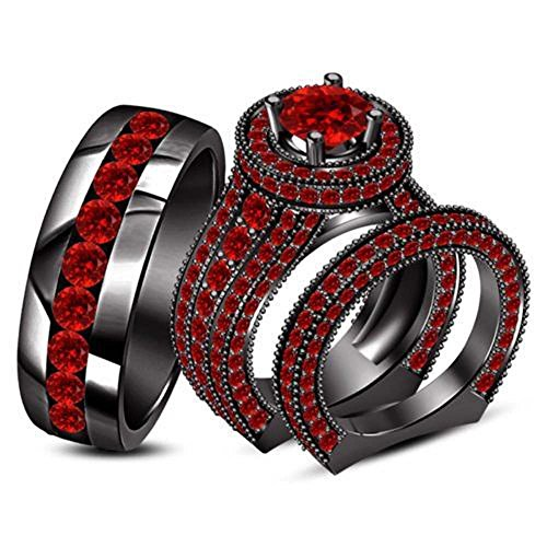 Silvercz Jewels Red Garnet 14k Black Gold Fn .925 Silver Mens/Ladies Engagement Ring Trio Set -