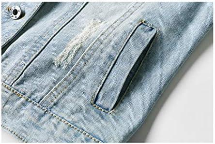 HIXIAOHE WOMEN AUTUMN 3/4 SLEEVE RETRO SHORT DENIM JACKETS LIGHT BLUE JEAN COATS