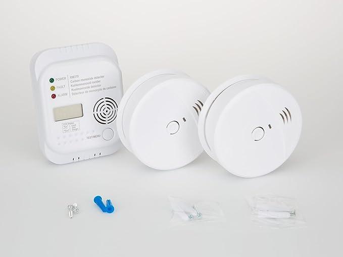 Protección contra incendios de set7 (2 x Detector de humo, - Detector de monóxido de carbono, soporte magnético) Kit de seguridad Bran - Paquete de: ...