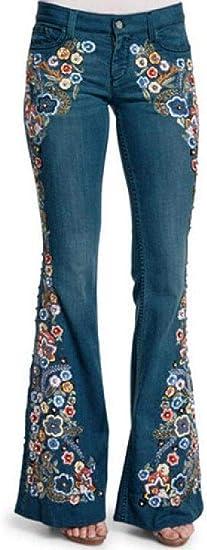 FRPE Womens High Waist Stretch Embroidery Bell Bottom Jeans Denim Pants