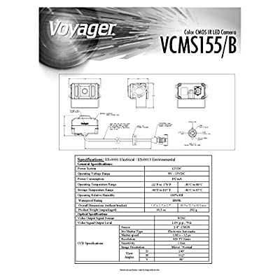 Voyager VCMS155B Color CMOS IR LED Camera, Black, 1/4