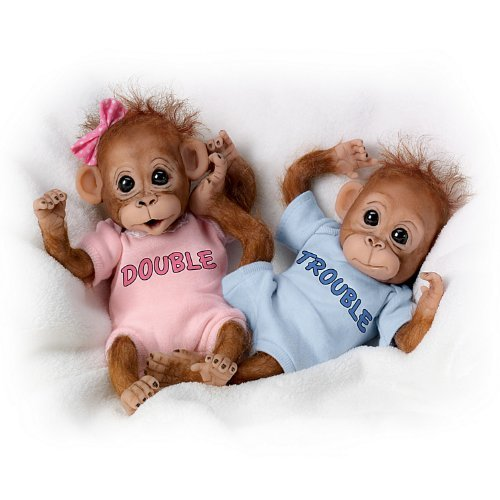 The Ashton-Drake Galleries: Double Trouble Monkey Doll Set by The Ashton-Drake Galleries (Monkey Baby Doll)