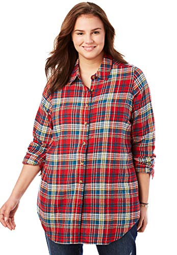 Woman Within Women's Plus Size Classic Flannel Shirt - Red Multi Plaid, L
