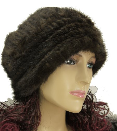 Hima Knit Mink Fur Roller Hat One Size 24''- Mahogany by Hima