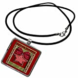 3dRose Beverly Turner Christmas Other Languages - Hyvaa joulua, Merry Christmas in Finnish, Red Star - Necklace with Rectangle Pendant (ncl_37014_1)