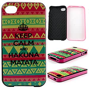 4S Case,iPhone 4S Case,Gift_Source Silicone Soft Back Protective Case Hybrid Bumper Popular Shockproof Case Cover for Apple iPhone 4G 4S Keep Calm and Hakuna matata