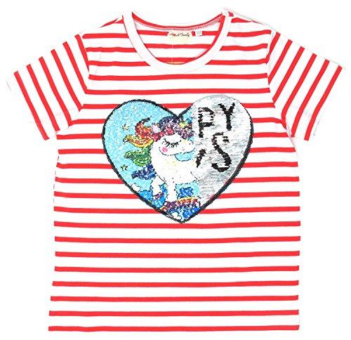 Unicorn Flip Heart Sequin Girl's T-Shirt with Flip Sequin Unicorn Headband 4-12 Years (10, Stripe Shirt Only)