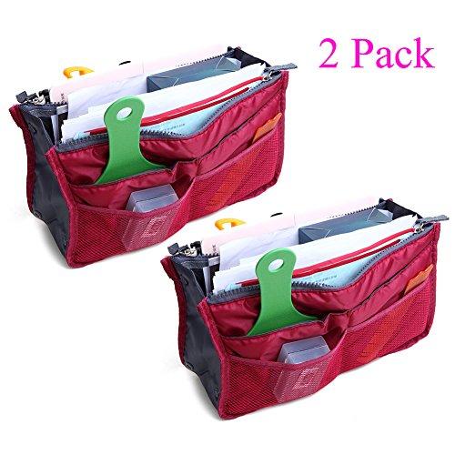2 Pack Magik Travel Insert Handbag Purse Large Liner Organizer Tidy Bags Expandable 13 Pocket Handbag Insert Purse Organizer with Handles (Burgundy)