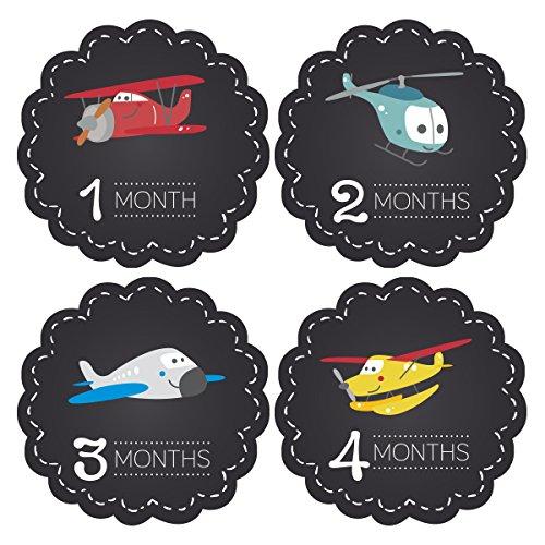 Pinkie Penguin Baby Monthly Stickers - Airplanes Chalkboard - Milestone Onesie Stickers - 1-12 Months - Baby Shower Gift