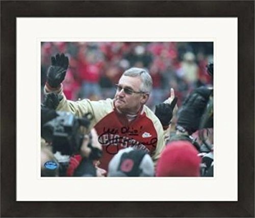 Signed Jim Tressel Picture - 8x10 Ohio State Buckeyes Football Coach) #SC1 Yea Ohio Matted & Framed - Autographed College Photos