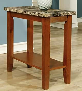 Rectangular Walnut Faux Marble Top Chair Side Table End Table By Poundex