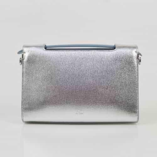 209414322a5a Christian Dior Diorever Silver Leather W Attachable Shoulder Strap Hand Bag