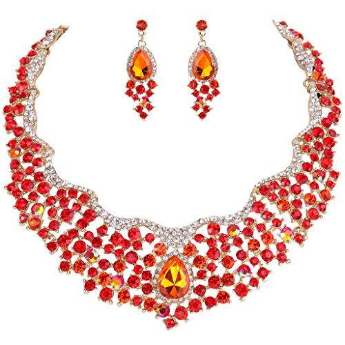 EVER FAITH Women's Austrian Crystal Flower Cluster Teardrop Necklace Earrings Set Orange Gold-Tone