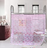 Pink Maple Leaf Lace Princess Luxury 4 Post Bed Canopy Student Mosquito Net (Full/Queen)