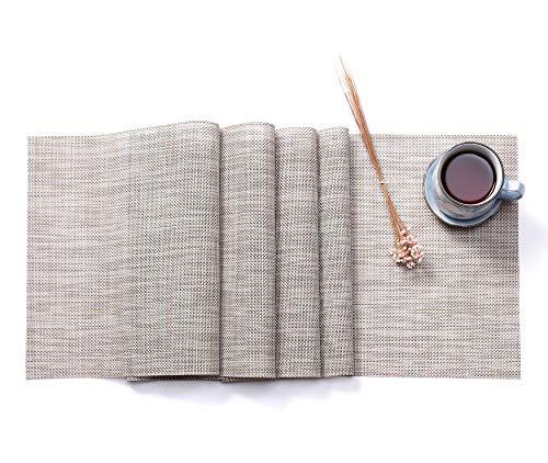 HYSENM Western Style Eco-Friendly Rectangular Heat Insulation PVC Vinyl Weave Table Runner (12