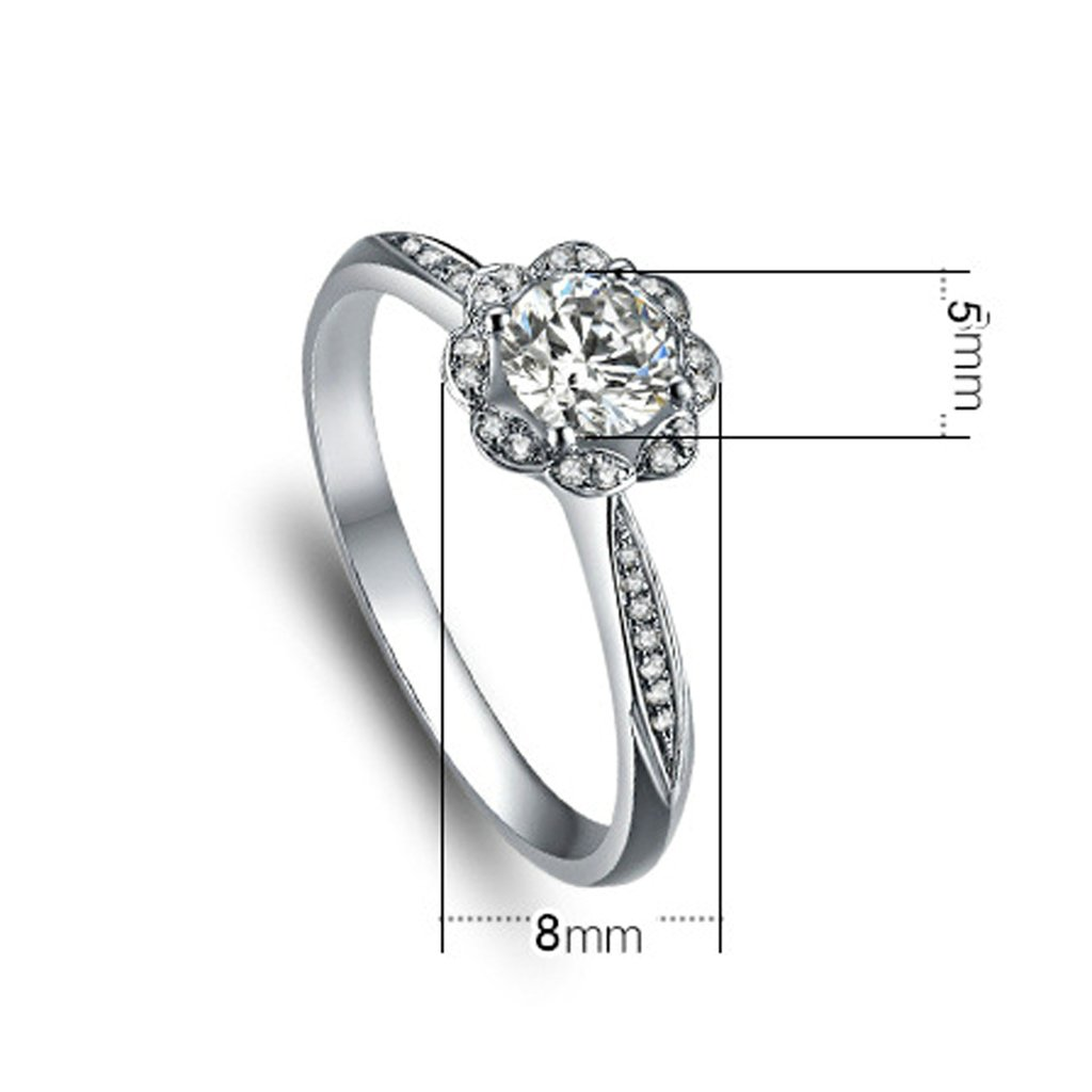 Bishilin S925 Silver Flower Filigree Sparkle Icon Anniversary Rings Vintage For Womens Size 6