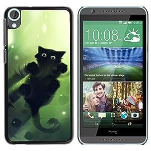 LECELL -- Funda protectora / Cubierta / Piel For HTC Desire 820 -- Cool Cute Cat Water Mirror Reflection Black --